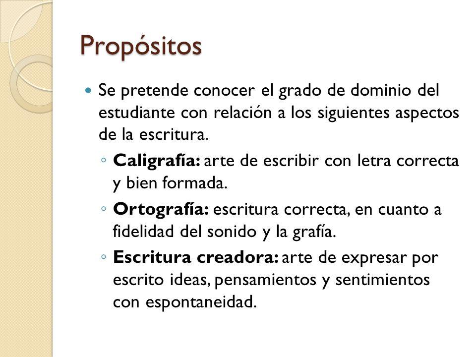 Propósitos Se pretende conocer el grado de dominio del estudiante con relación a los siguientes aspectos de la escritura.