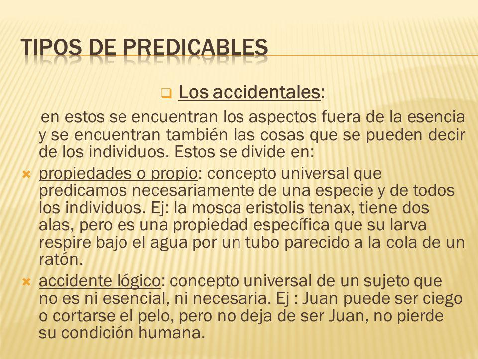 Tipos de predicables Los accidentales: