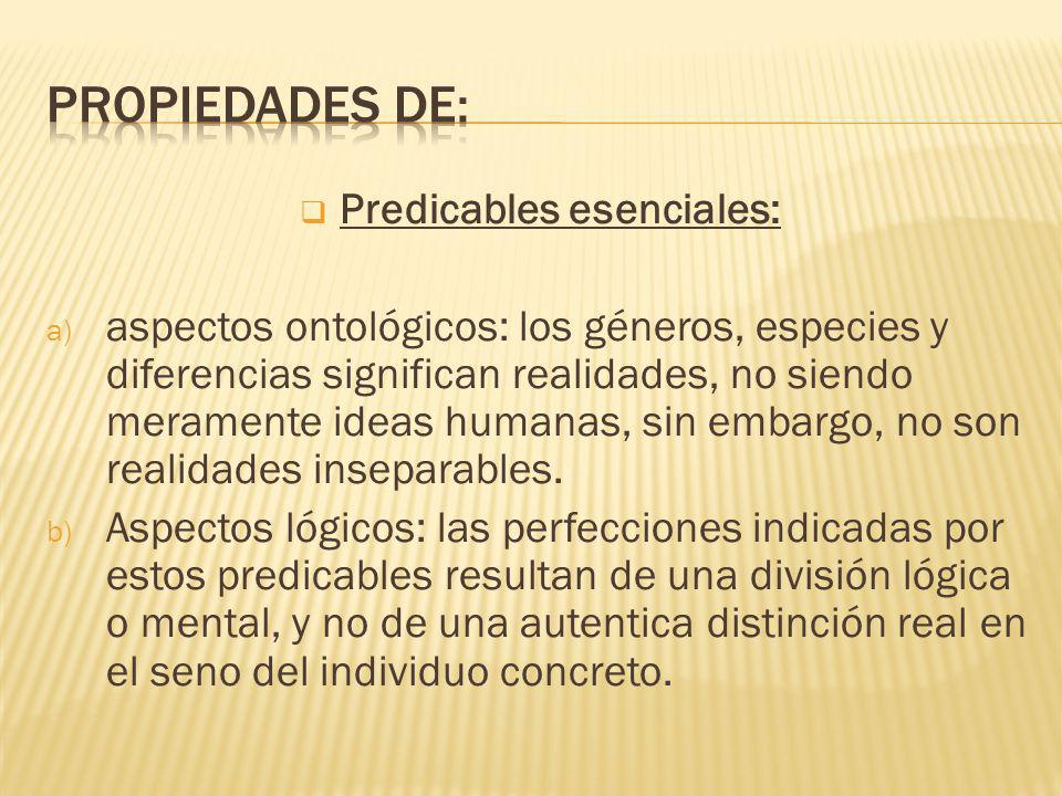 Predicables esenciales:
