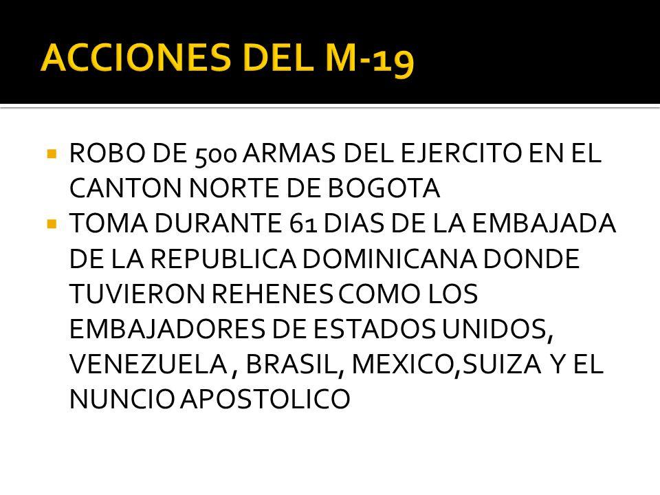 ACCIONES DEL M-19 ROBO DE 500 ARMAS DEL EJERCITO EN EL CANTON NORTE DE BOGOTA.