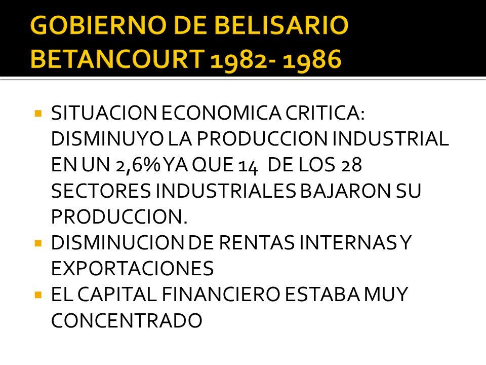 GOBIERNO DE BELISARIO BETANCOURT 1982- 1986