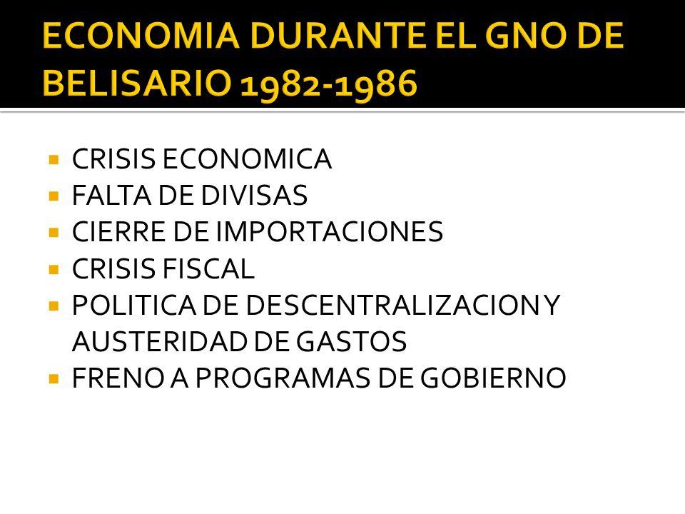 ECONOMIA DURANTE EL GNO DE BELISARIO 1982-1986
