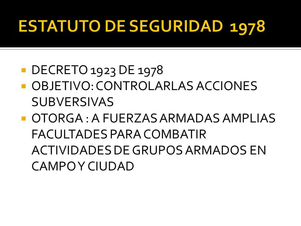 ESTATUTO DE SEGURIDAD 1978 DECRETO 1923 DE 1978