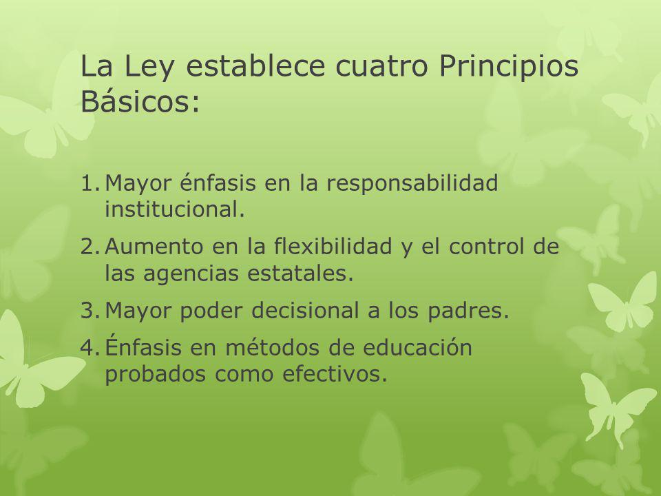 La Ley establece cuatro Principios Básicos: