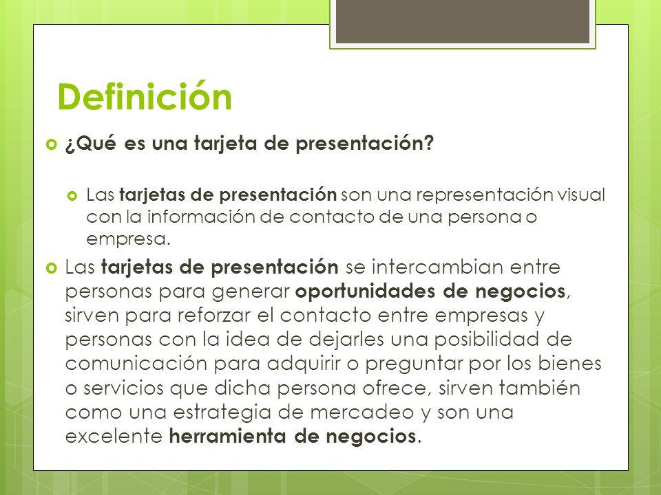 Definición ¿Qué es una tarjeta de presentación