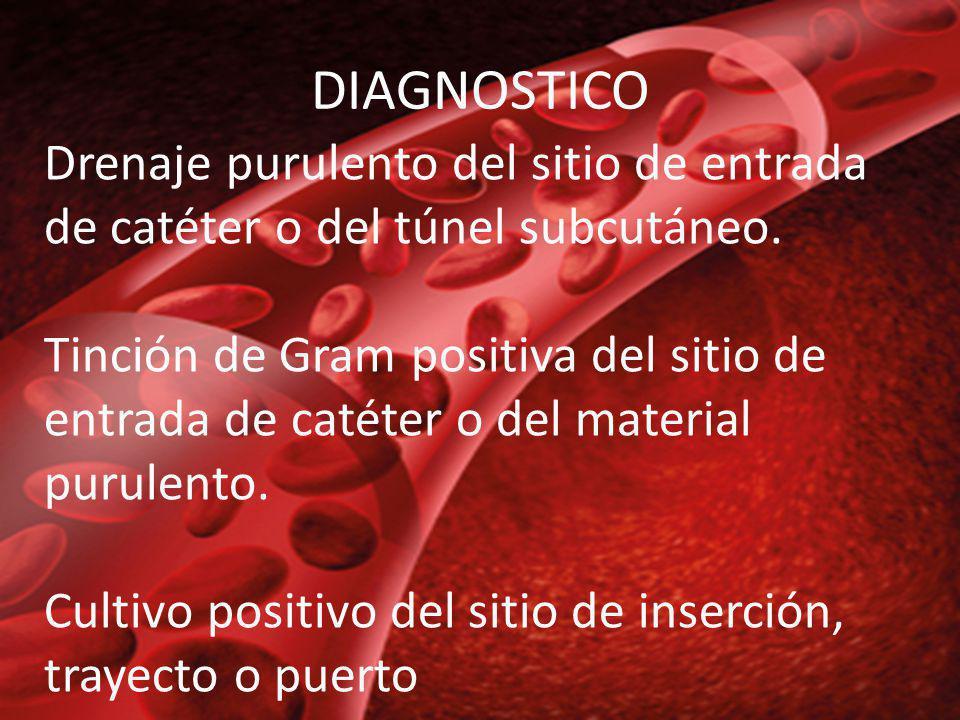 DIAGNOSTICO Drenaje purulento del sitio de entrada de catéter o del túnel subcutáneo.