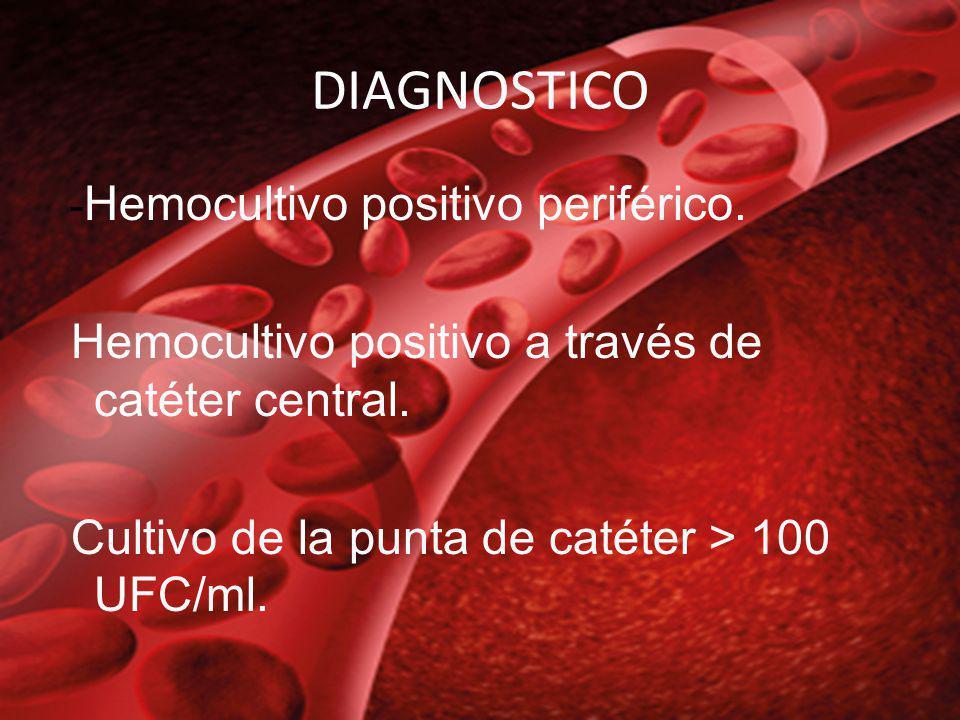 DIAGNOSTICO Hemocultivo positivo a través de catéter central.