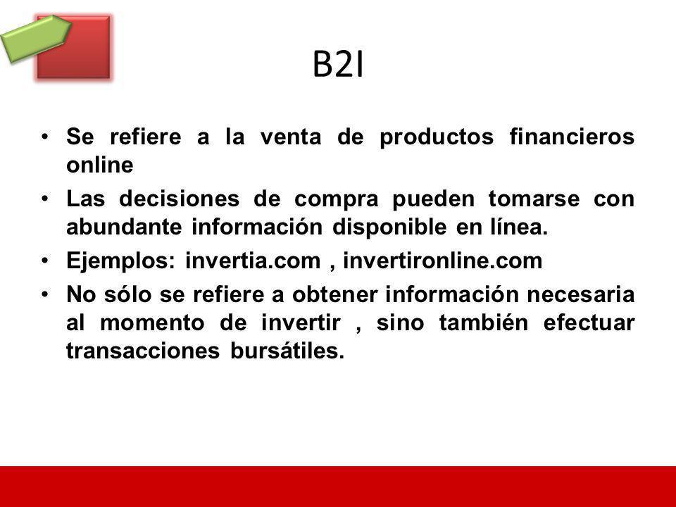 B2I Se refiere a la venta de productos financieros online