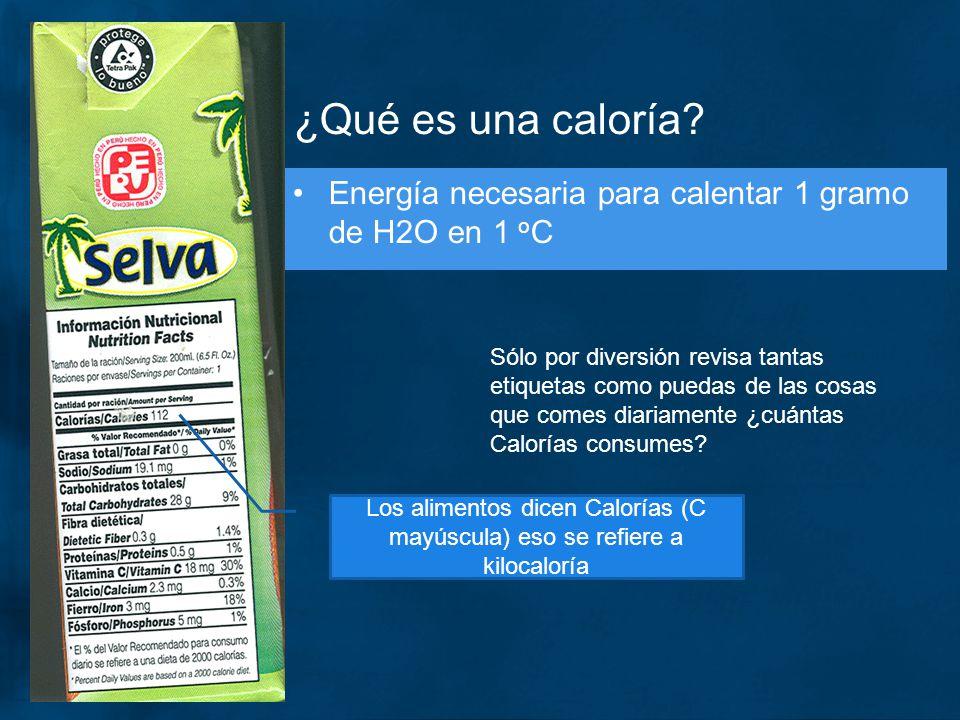 ¿Qué es una caloría Energía necesaria para calentar 1 gramo de H2O en 1 oC.