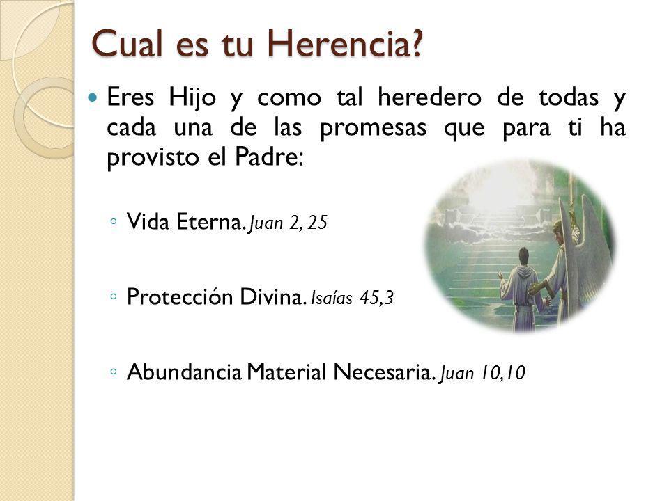 Cual es tu Herencia Eres Hijo y como tal heredero de todas y cada una de las promesas que para ti ha provisto el Padre:
