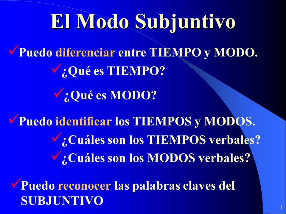 El Modo Subjuntivo Puedo diferenciar entre TIEMPO y MODO.