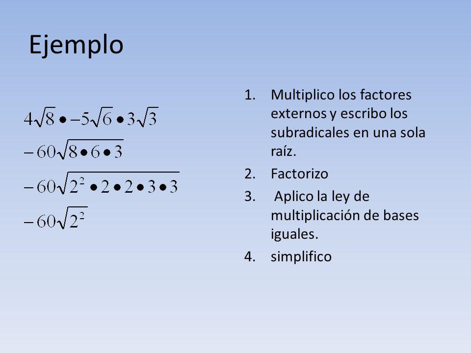 Ejemplo Multiplico los factores externos y escribo los subradicales en una sola raíz. Factorizo. Aplico la ley de multiplicación de bases iguales.