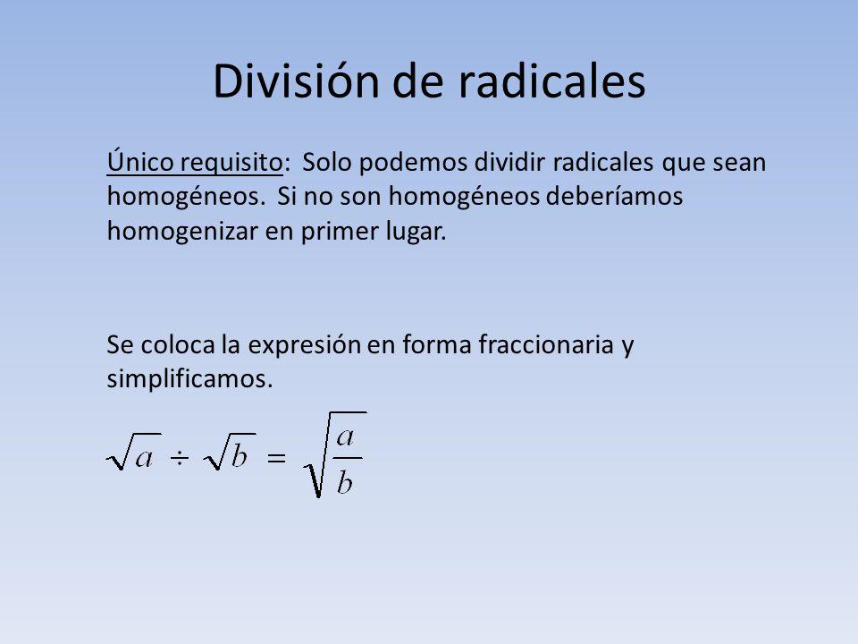División de radicales