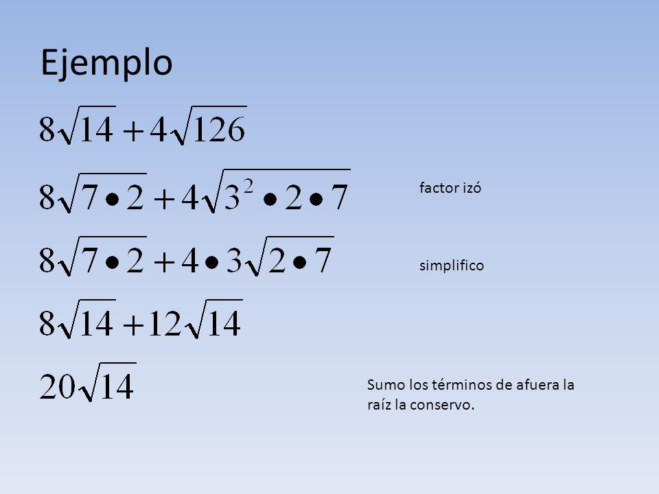 Ejemplo factor izó simplifico