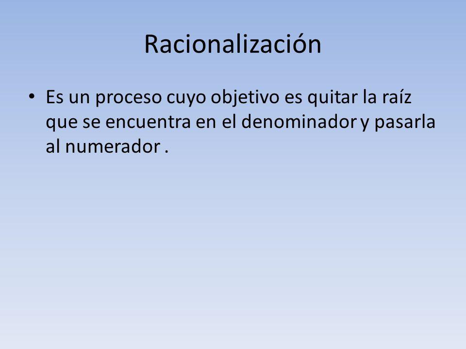 Racionalización Es un proceso cuyo objetivo es quitar la raíz que se encuentra en el denominador y pasarla al numerador .
