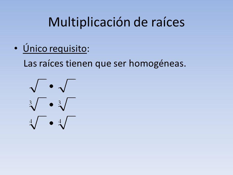 Multiplicación de raíces