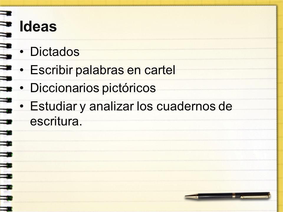 Ideas Dictados Escribir palabras en cartel Diccionarios pictóricos