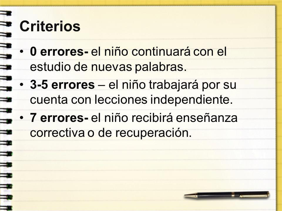 Criterios 0 errores- el niño continuará con el estudio de nuevas palabras.