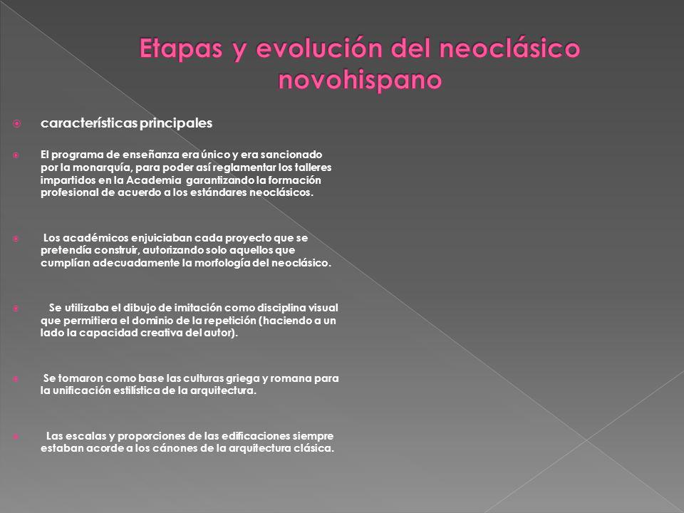 Etapas y evolución del neoclásico novohispano