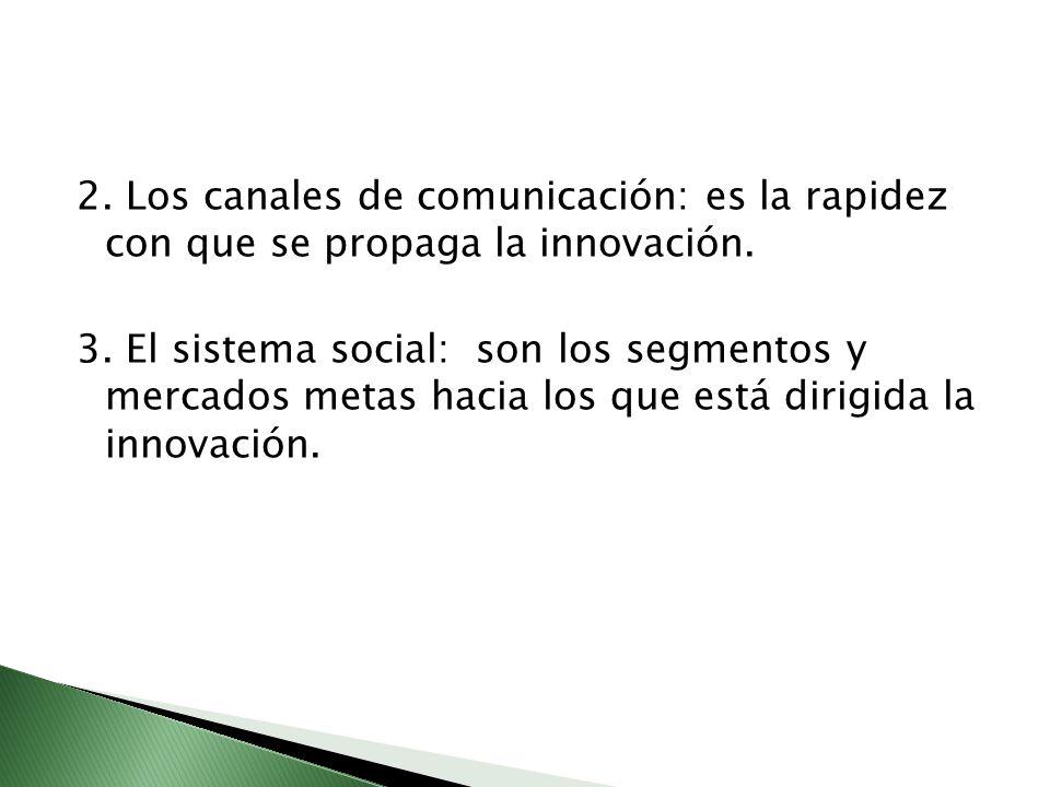 2. Los canales de comunicación: es la rapidez con que se propaga la innovación.