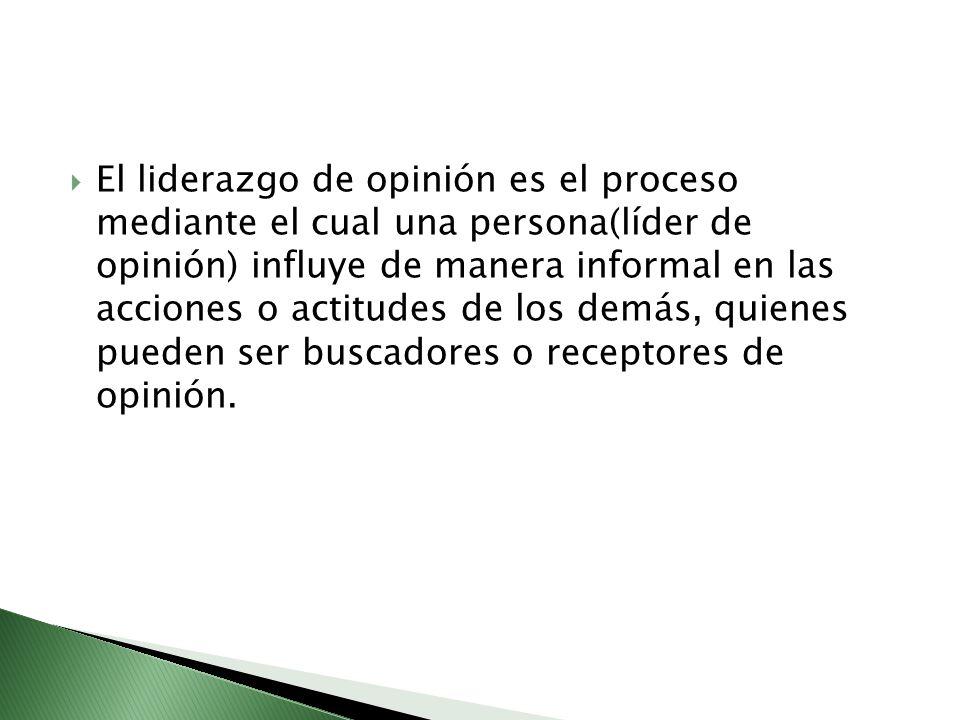 El liderazgo de opinión es el proceso mediante el cual una persona(líder de opinión) influye de manera informal en las acciones o actitudes de los demás, quienes pueden ser buscadores o receptores de opinión.