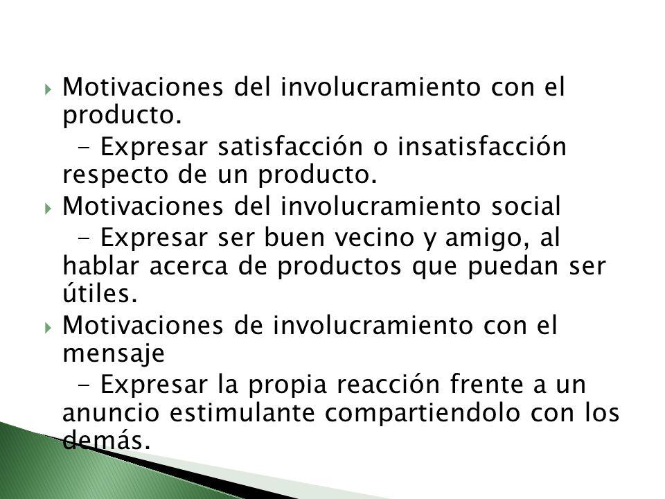 Motivaciones del involucramiento con el producto.