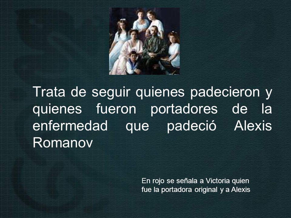 Trata de seguir quienes padecieron y quienes fueron portadores de la enfermedad que padeció Alexis Romanov