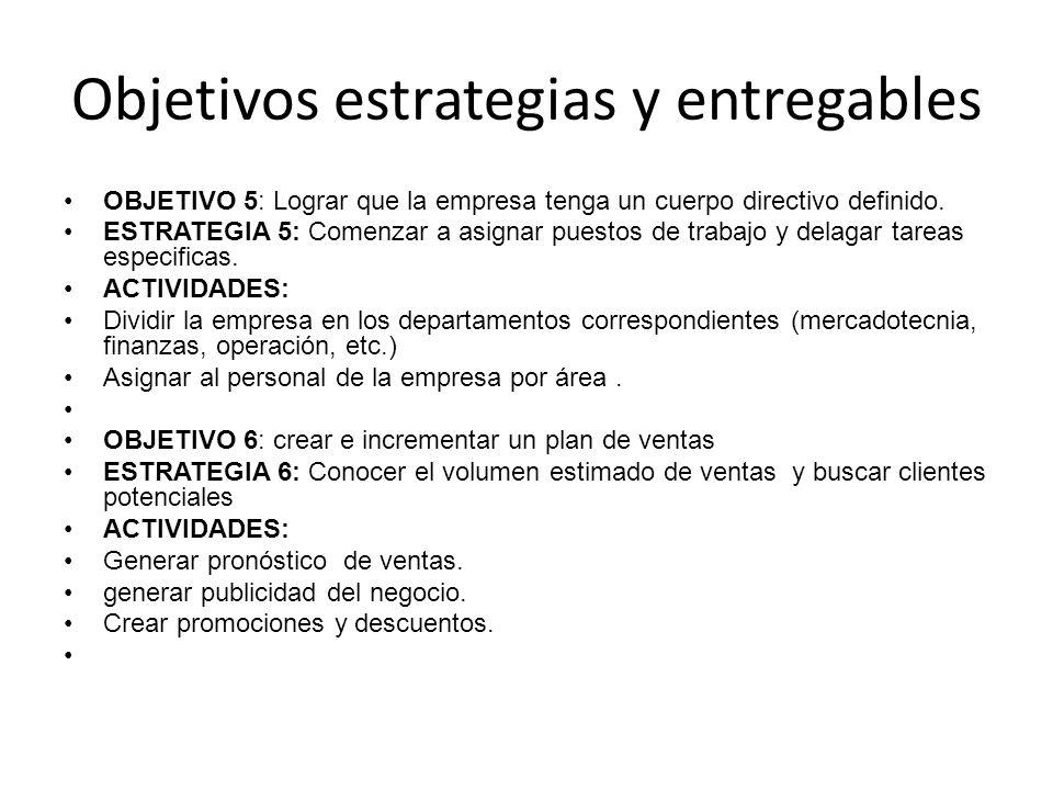 Objetivos estrategias y entregables