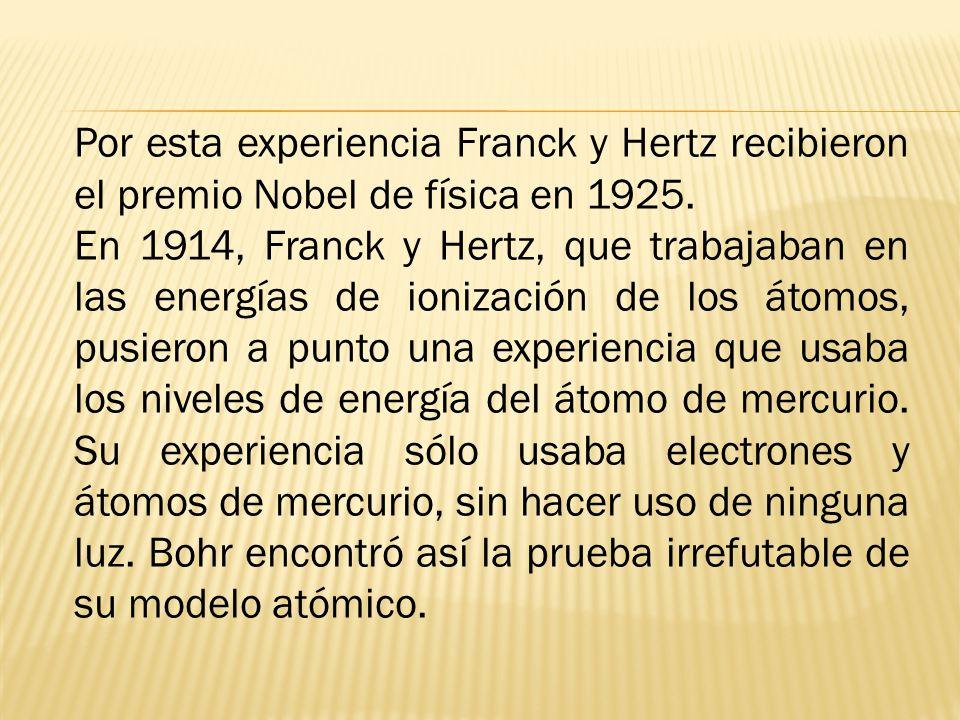 Por esta experiencia Franck y Hertz recibieron el premio Nobel de física en 1925.