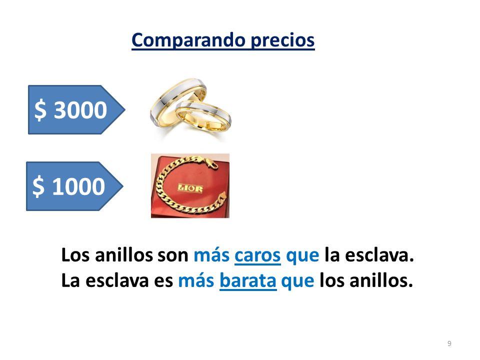 Comparando precios $ 3000. $ 1000. Los anillos son más caros que la esclava.