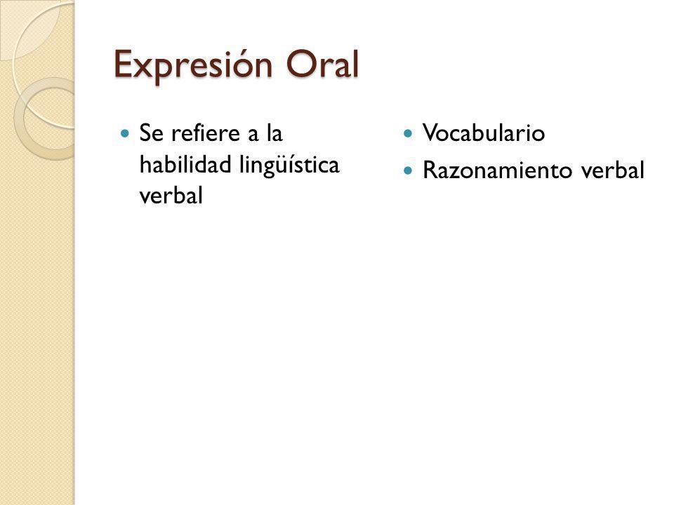 Expresión Oral Se refiere a la habilidad lingüística verbal