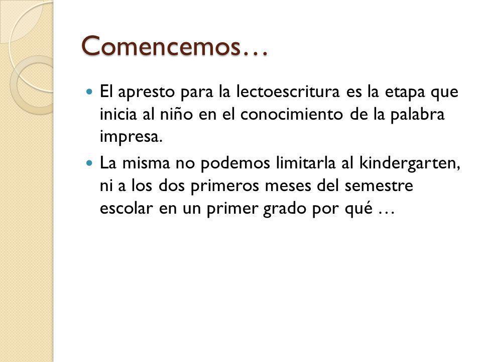 Comencemos… El apresto para la lectoescritura es la etapa que inicia al niño en el conocimiento de la palabra impresa.
