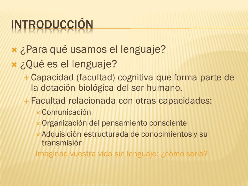 Introducción ¿Para qué usamos el lenguaje ¿Qué es el lenguaje