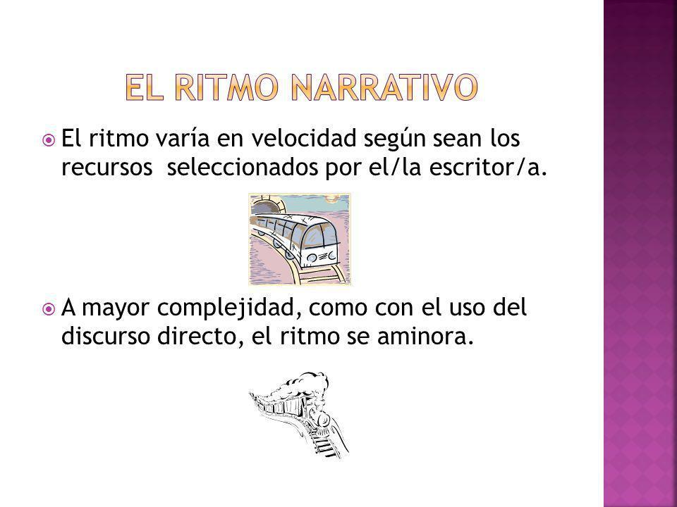 El ritmo narrativo El ritmo varía en velocidad según sean los recursos seleccionados por el/la escritor/a.