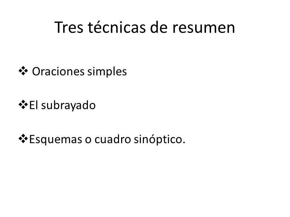 Tres técnicas de resumen