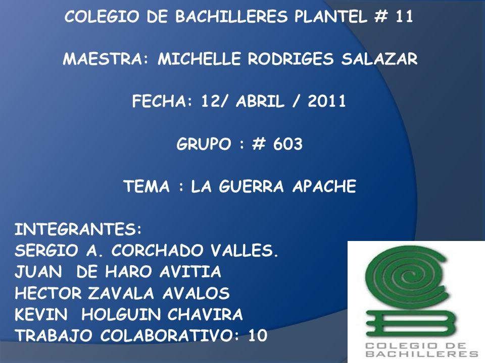 COLEGIO DE BACHILLERES PLANTEL # 11 MAESTRA: MICHELLE RODRIGES SALAZAR