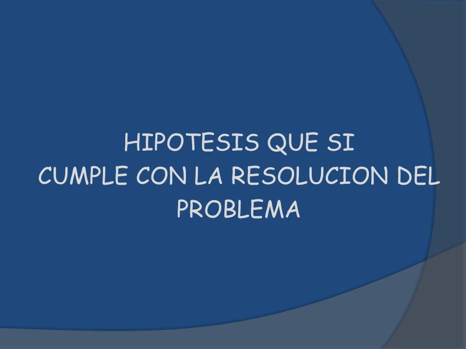 HIPOTESIS QUE SI CUMPLE CON LA RESOLUCION DEL PROBLEMA