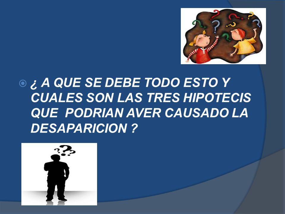 ¿ A QUE SE DEBE TODO ESTO Y CUALES SON LAS TRES HIPOTECIS QUE PODRIAN AVER CAUSADO LA DESAPARICION