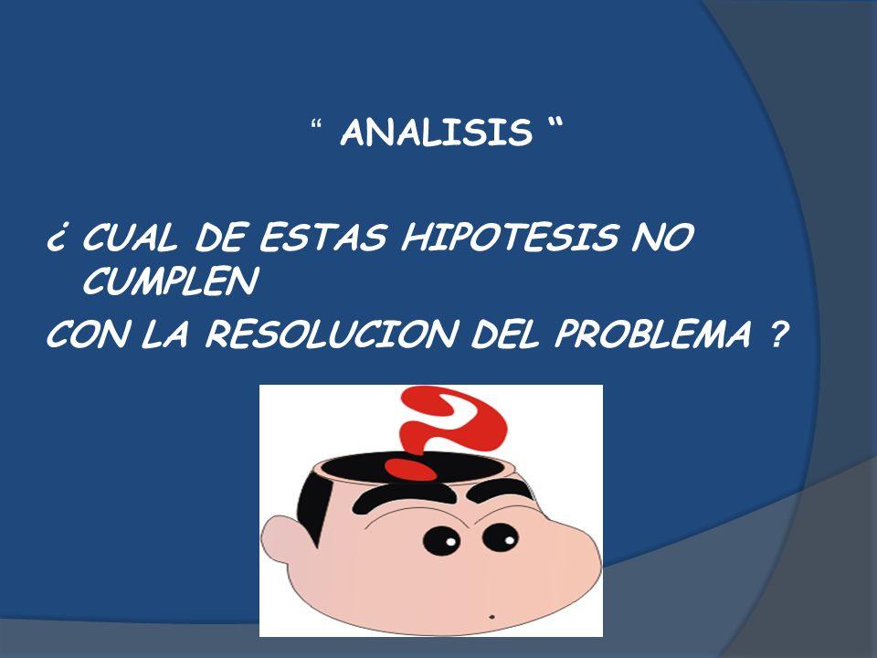 ANALISIS ¿ CUAL DE ESTAS HIPOTESIS NO CUMPLEN CON LA RESOLUCION DEL PROBLEMA