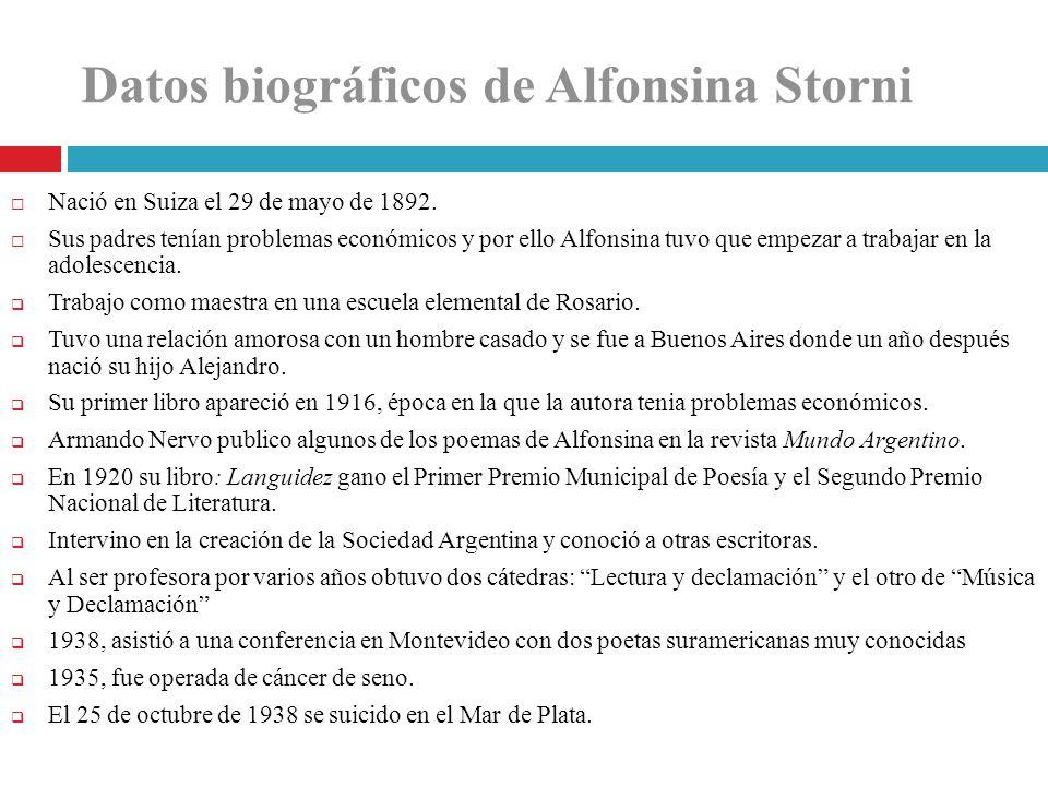 Datos biográficos de Alfonsina Storni
