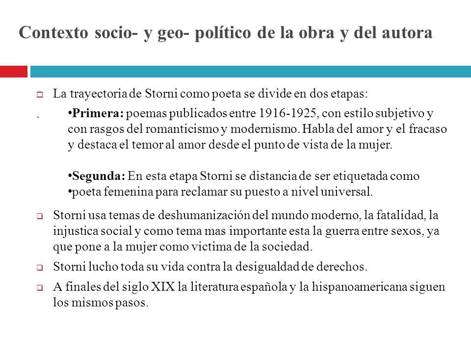Contexto socio- y geo- político de la obra y del autora