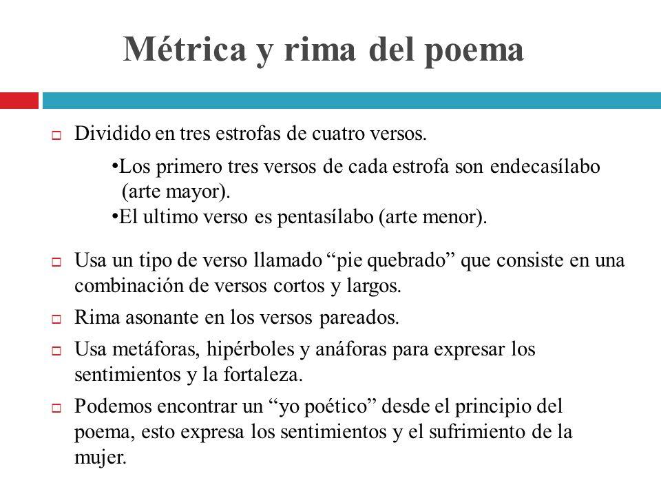 Métrica y rima del poema