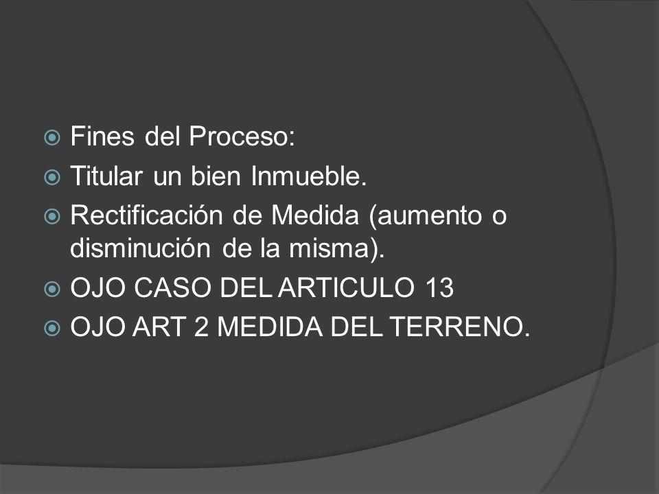 Fines del Proceso: Titular un bien Inmueble. Rectificación de Medida (aumento o disminución de la misma).