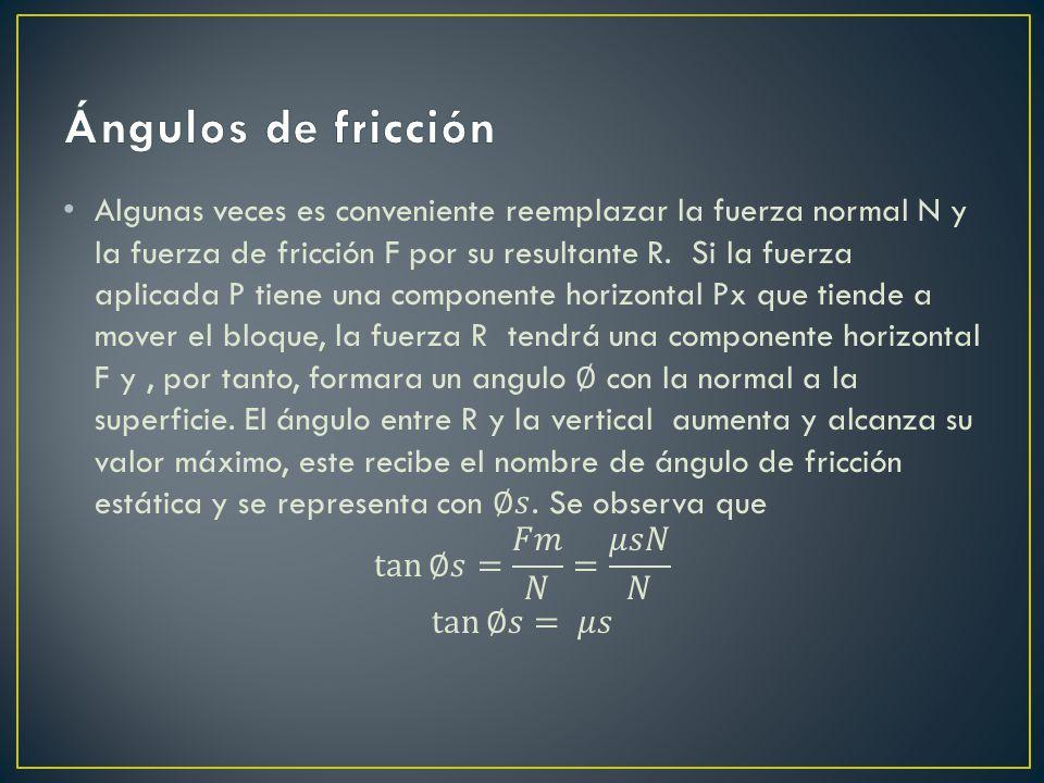 Ángulos de fricción