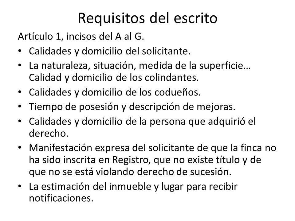 Requisitos del escrito