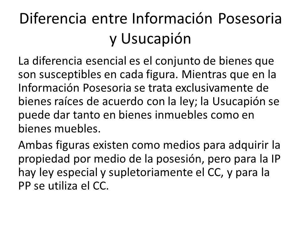Diferencia entre Información Posesoria y Usucapión
