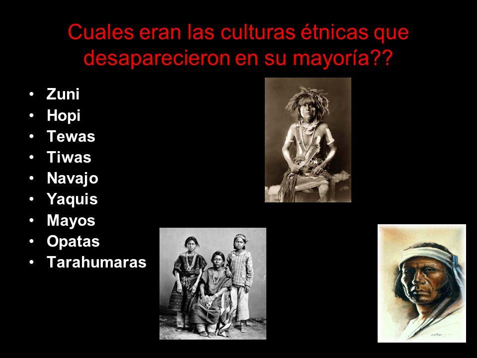 Cuales eran las culturas étnicas que desaparecieron en su mayoría