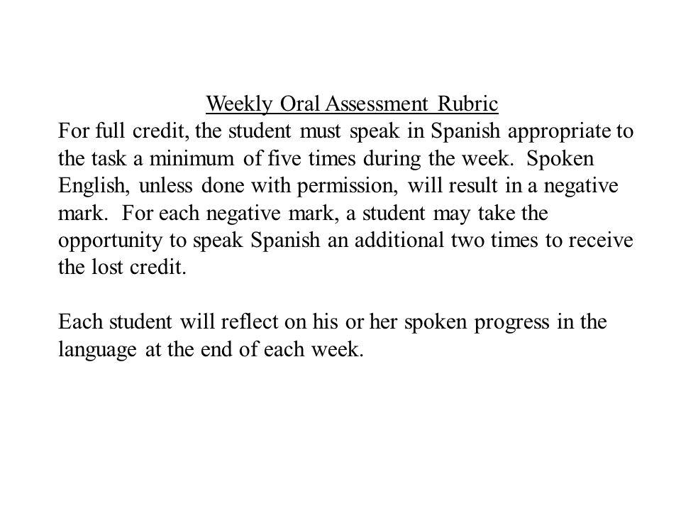 Weekly Oral Assessment Rubric