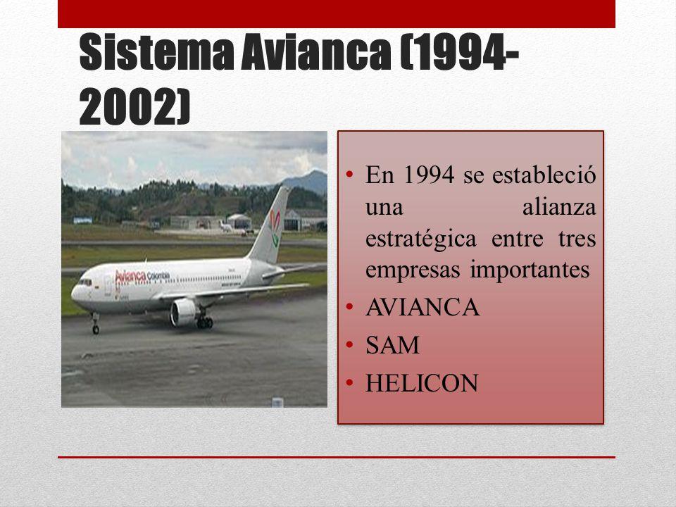 Sistema Avianca (1994-2002) En 1994 se estableció una alianza estratégica entre tres empresas importantes.