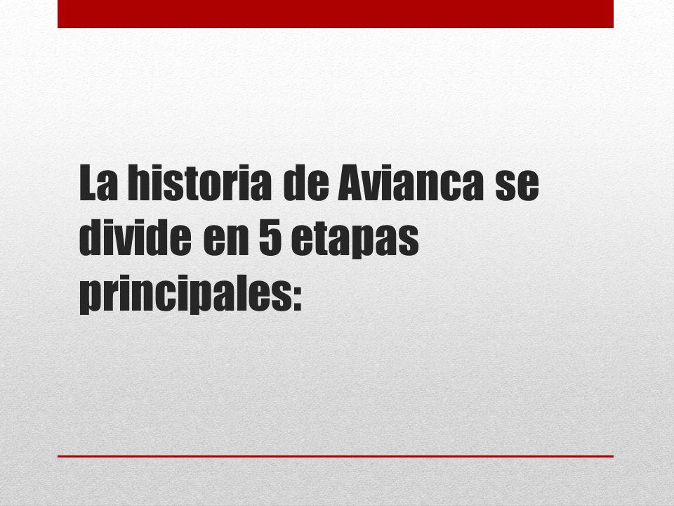La historia de Avianca se divide en 5 etapas principales: